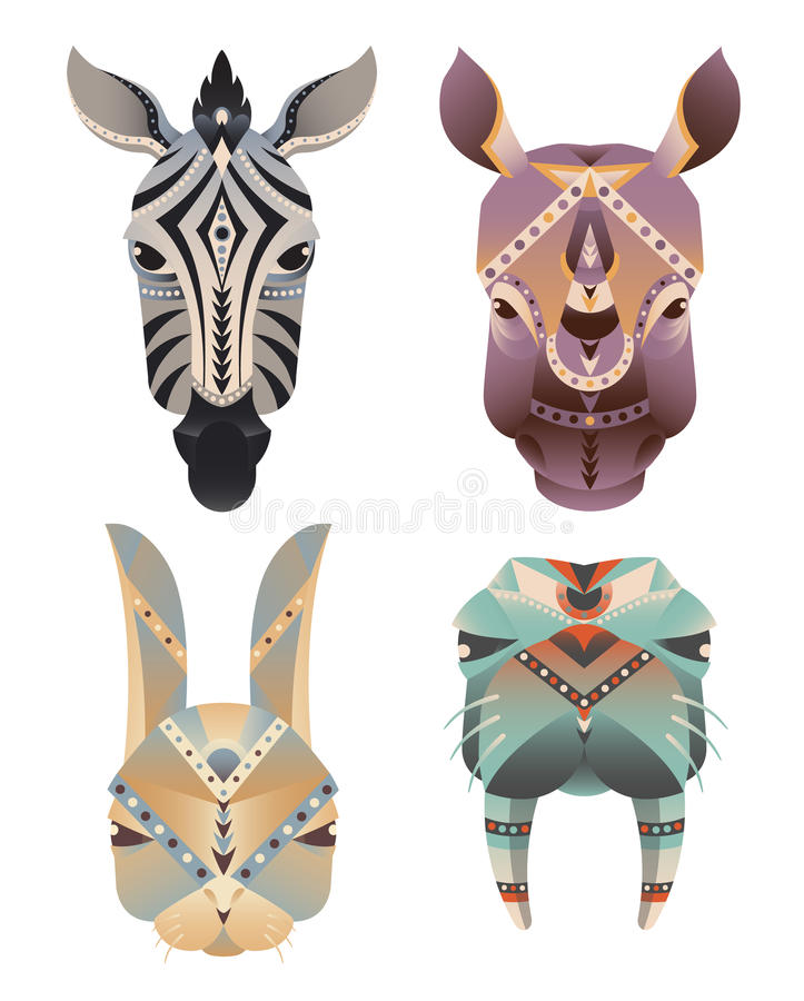 Σύνολο του γεωμετρικού αφηρημένου κεφαλιού ζώων Με ραβδώσεις, ρινόκερος, λαγοί, οδόβαινος διανυσματική απεικόνιση