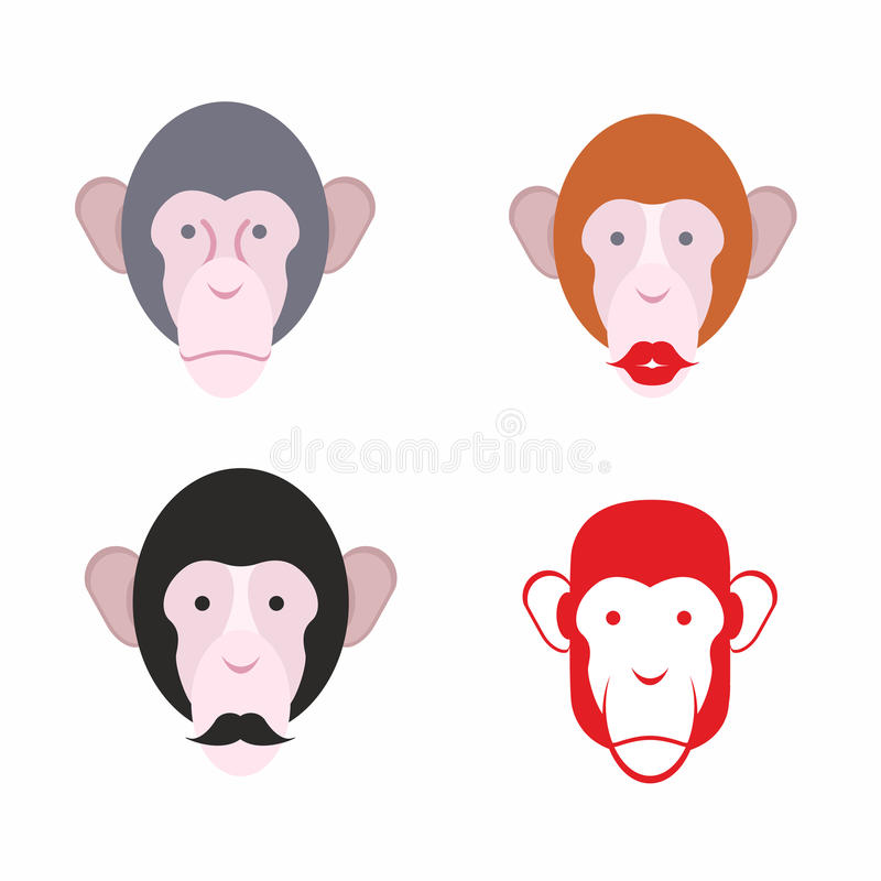 Σύνολο του προσώπου πιθήκου Πίθηκος με ένα mustache διάφορος των ζώων απεικόνιση αποθεμάτων