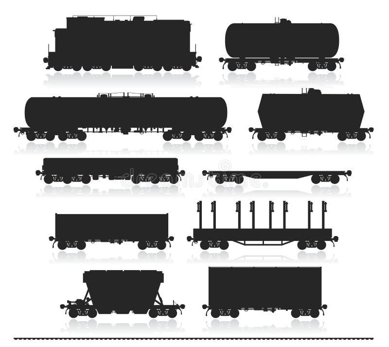 Σύνολο τραίνου με τα βαγόνια εμπορευμάτων φορτίου ελεύθερη απεικόνιση δικαιώματος