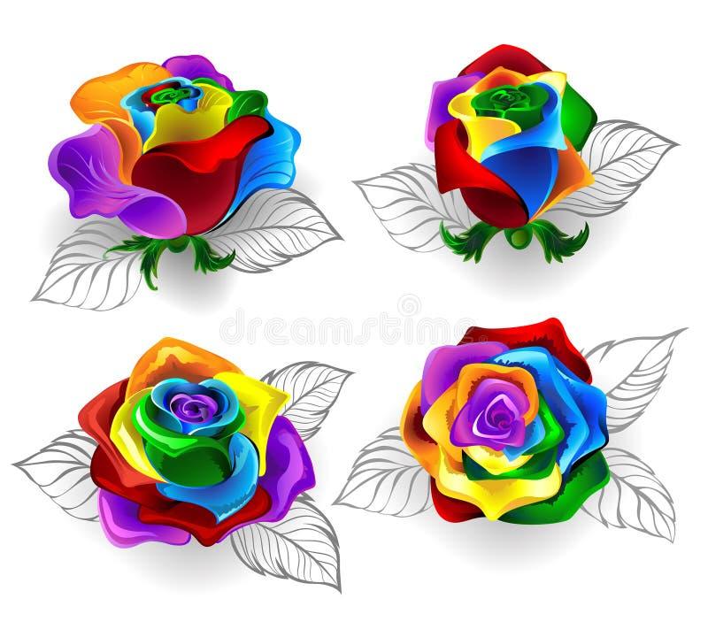 Σύνολο τριαντάφυλλων ουράνιων τόξων ελεύθερη απεικόνιση δικαιώματος
