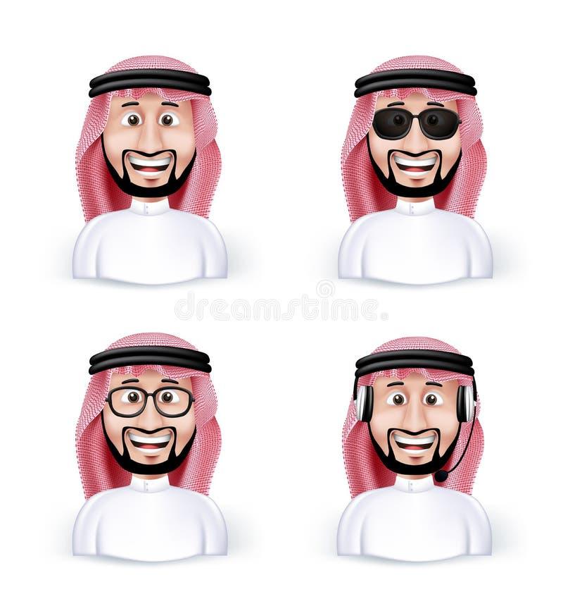 Σύνολο τρισδιάστατης διάστασης Σαουδάραβας - αραβικό άτομο διανυσματική απεικόνιση