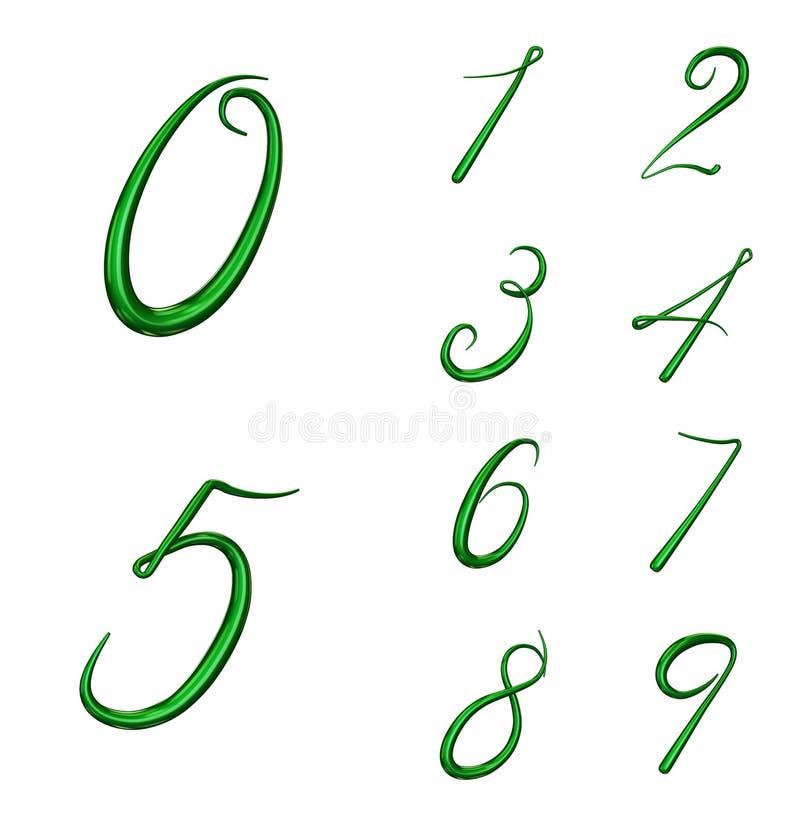 Σύνολο τρισδιάστατων αριθμών από 0 έως 9 διανυσματική απεικόνιση