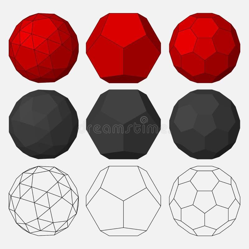 Σύνολο τρισδιάστατων γεωμετρικών αριθμών ελεύθερη απεικόνιση δικαιώματος