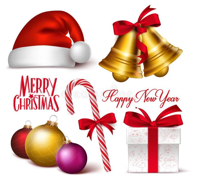 Σύνολο τρισδιάστατων ρεαλιστικών αντικειμένων, συμβόλων και διακοσμήσεων Χριστουγέννων ελεύθερη απεικόνιση δικαιώματος