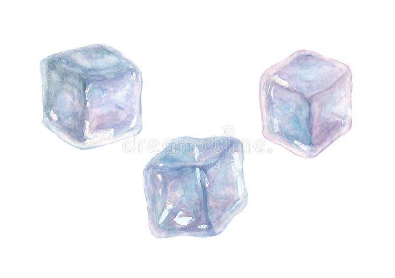 Σύνολο τριών κύβων πάγου watercolor που απομονώνεται στο άσπρο υπόβαθρο απεικόνιση αποθεμάτων