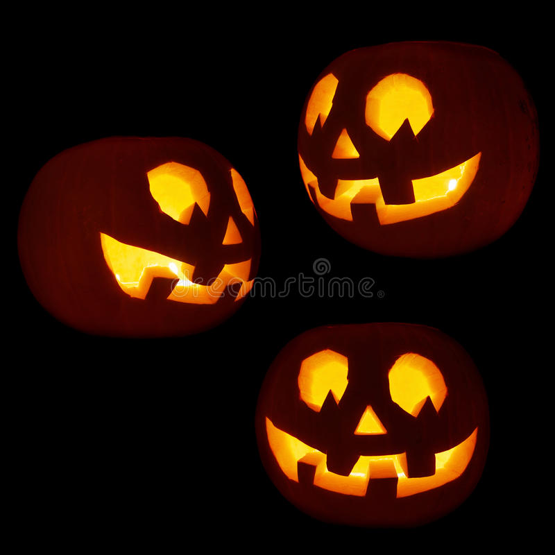 Σύνολο τριών Jack-o'-lanterns κολοκυθών στοκ φωτογραφία