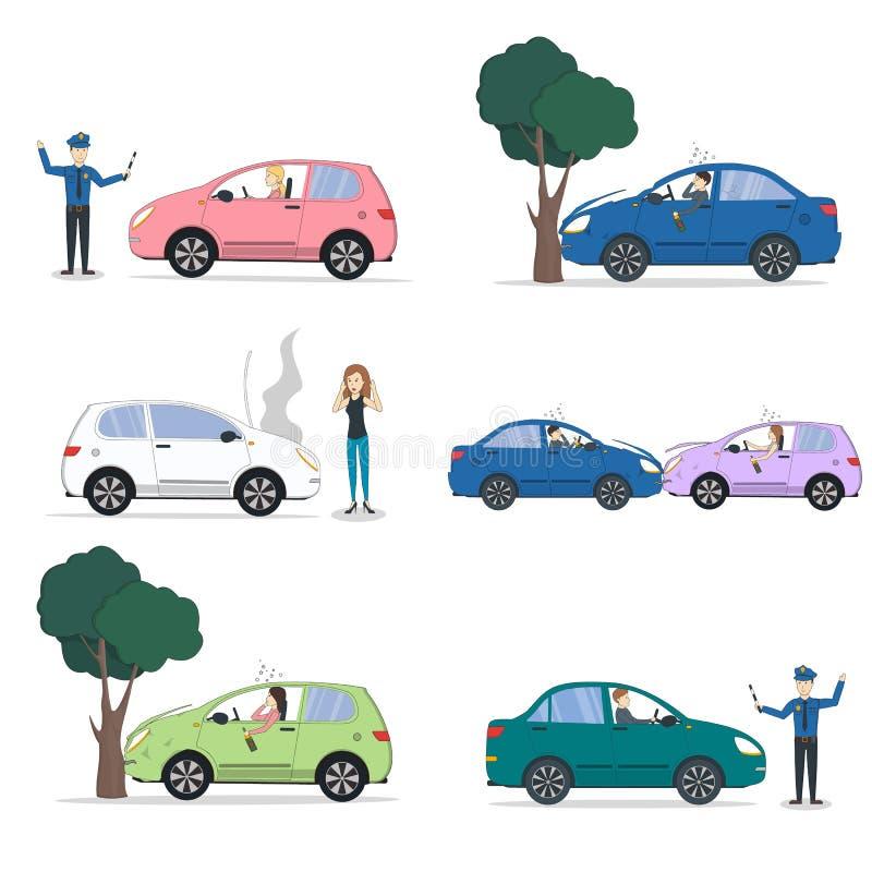 Σύνολο τροχαίου ατυχήματος διανυσματική απεικόνιση