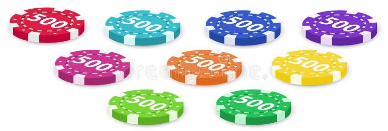 Σύνολο τσιπ πόκερ διανυσματική απεικόνιση