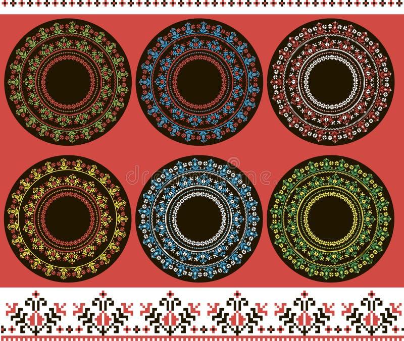 Σύνολο τυπωμένων υλών εθνικής στρογγυλής διακόσμησης στοκ φωτογραφία