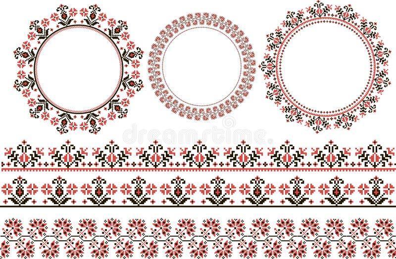 Σύνολο τυπωμένων υλών εθνικής στρογγυλής διακόσμησης στοκ εικόνα