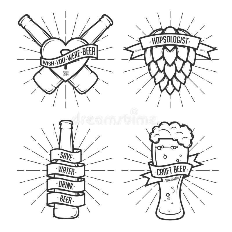 Σύνολο τυπωμένων υλών μπύρας μπλουζών Εκλεκτής ποιότητας διάνυσμα απεικόνιση αποθεμάτων