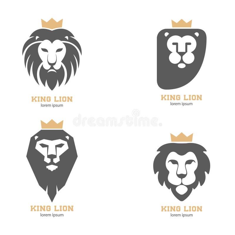 Σύνολο των αφηρημένων κεφαλιών λιονταριών με τις κορώνες απεικόνιση αποθεμάτων