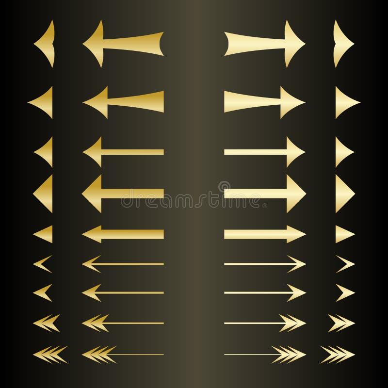 Σύνολο των χρυσών βελών στοκ εικόνες