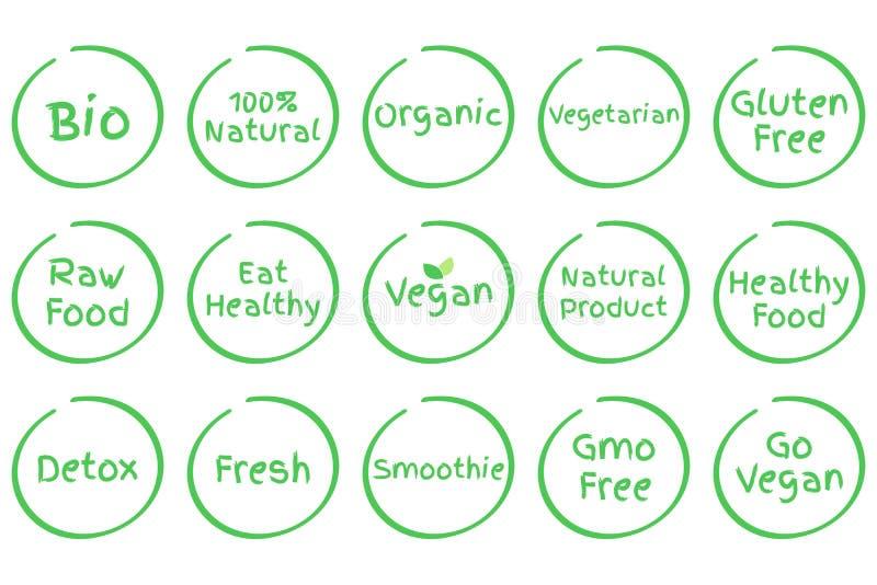 Σύνολο υγιών διανυσματικών συμβόλων τροφίμων απεικόνιση αποθεμάτων