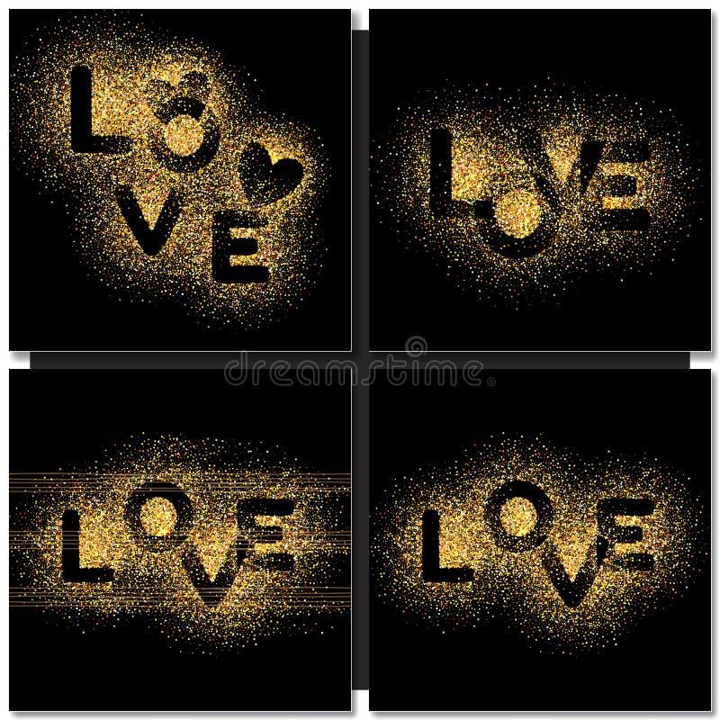 Σύνολο υποβάθρου καρτών ημέρας βαλεντίνων με τη χρυσή αγάπη λέξης διανυσματική απεικόνιση