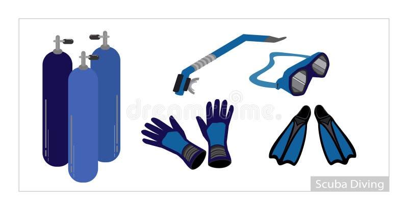 Σύνολο υποβρύχιου εξοπλισμού κατάδυσης στο άσπρο υπόβαθρο απεικόνιση αποθεμάτων