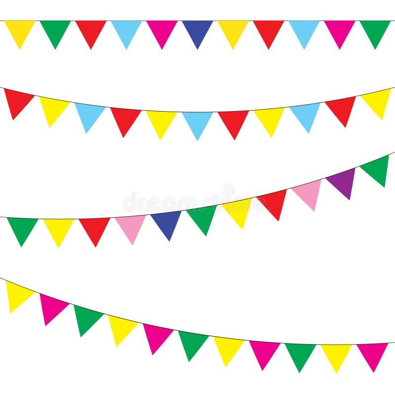 Σύνολο υφάσματος και γιρλαντών εορταστικές σημαίες διάνυσμα στοκ εικόνες με δικαίωμα ελεύθερης χρήσης