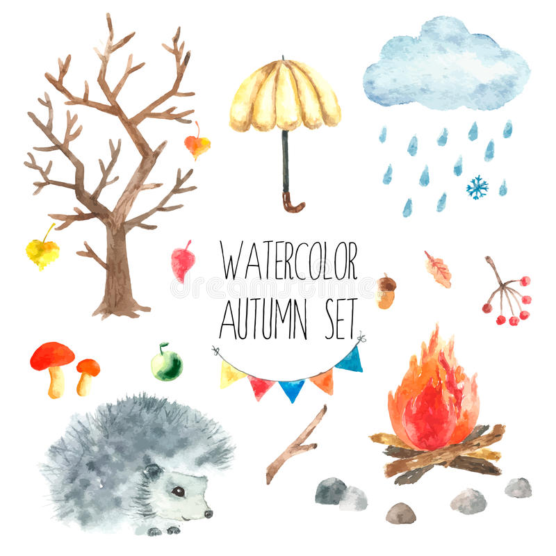 Σύνολο φθινοπώρου Watercolor απεικόνιση αποθεμάτων