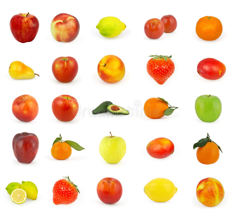 Σύνολο φρούτων που απομονώνεται στο λευκό στοκ φωτογραφίες με δικαίωμα ελεύθερης χρήσης