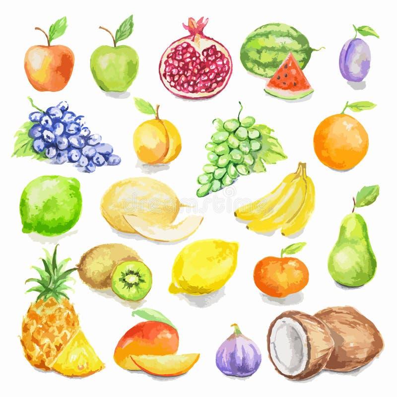 Σύνολο φρούτων Watercolor ελεύθερη απεικόνιση δικαιώματος