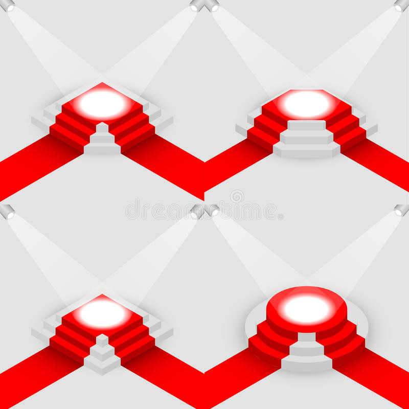 Σύνολο φωτισμένης στρογγυλής και τετραγωνικής isometric, διανυσματικής απεικόνισης podiums ελεύθερη απεικόνιση δικαιώματος