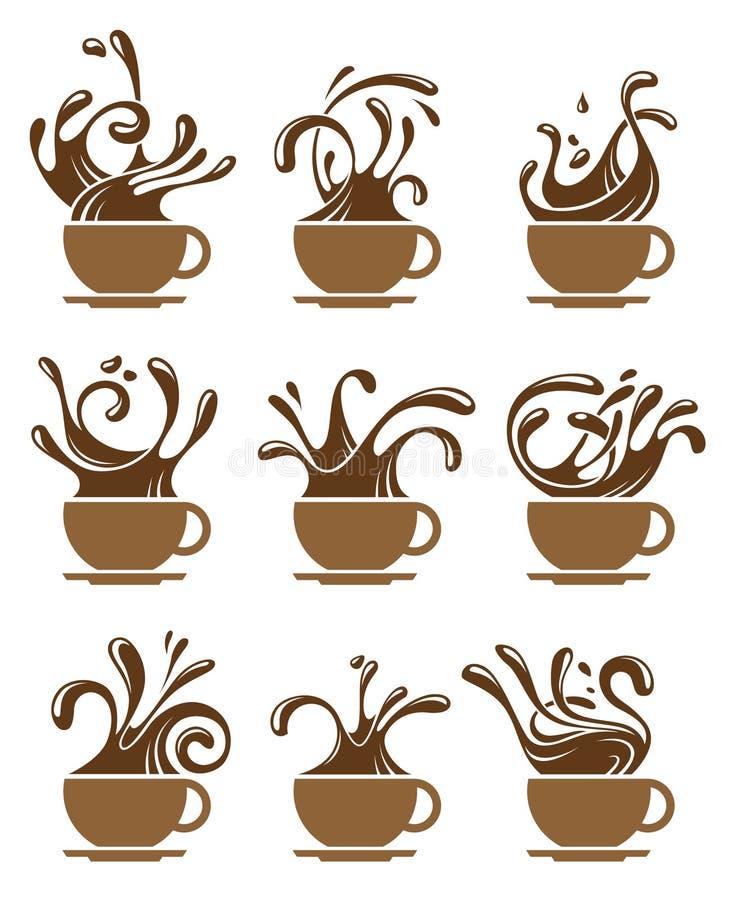 Σύνολο φλυτζανιών καφέ διανυσματική απεικόνιση