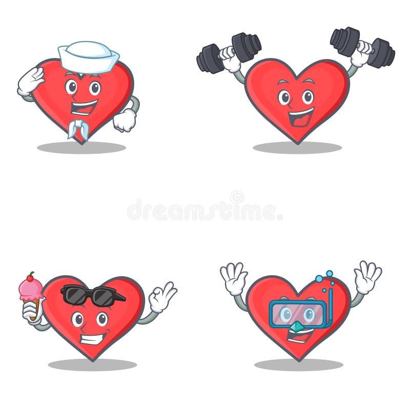 Σύνολο χαρακτήρα καρδιών με την κατάδυση παγωτού ικανότητας ναυτικών απεικόνιση αποθεμάτων
