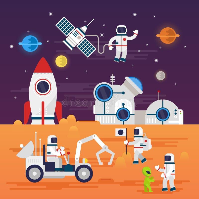 Σύνολο χαρακτήρων αστροναυτών στο επίπεδο ύφος κινούμενων σχεδίων ελεύθερη απεικόνιση δικαιώματος