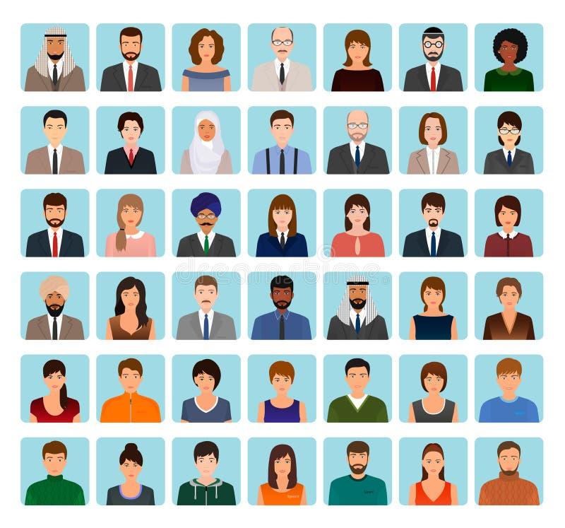 Σύνολο χαρακτήρων ειδώλων διαφορετικών ανθρώπων Επιχειρήσεων, κομψά και αθλητικά εικονίδια των προσώπων στο σχεδιάγραμμά σας διανυσματική απεικόνιση