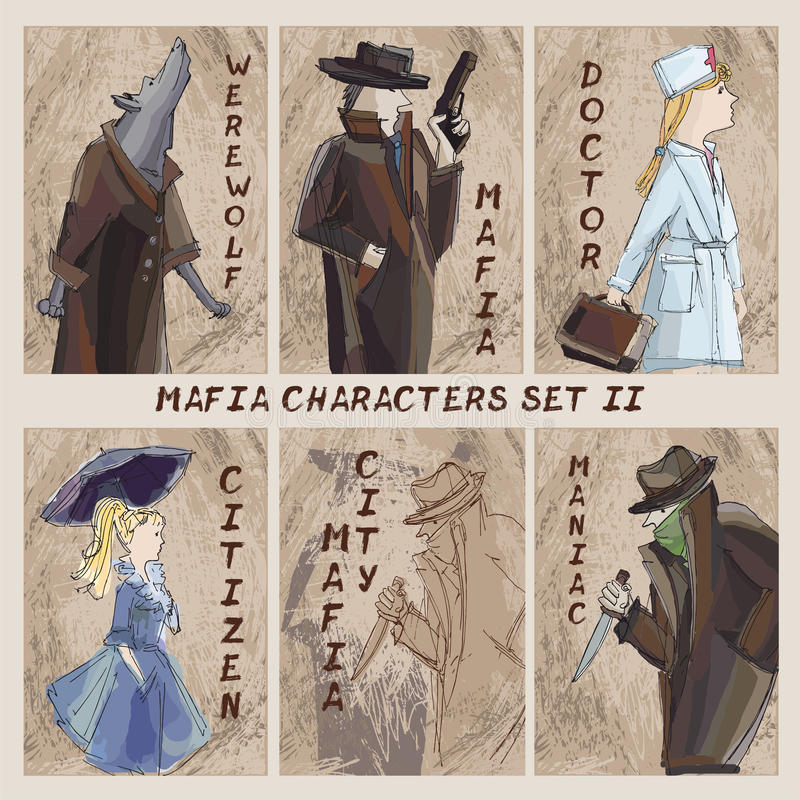 Σύνολο χαρακτήρων πόλεων μαφίας Cardgame Πολίτης, μαφία, μανιακή, doct ελεύθερη απεικόνιση δικαιώματος