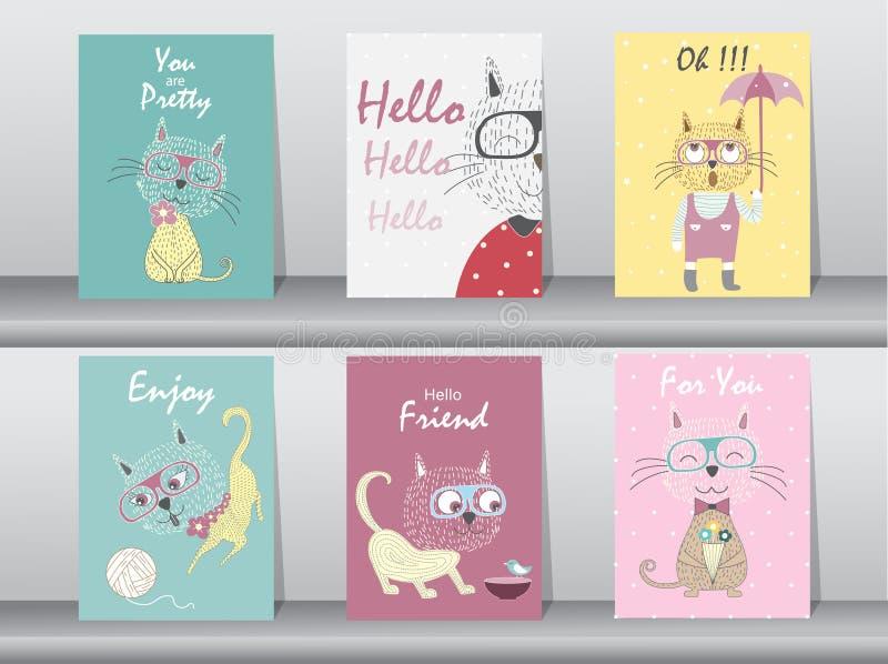 Σύνολο χαριτωμένης αφίσας ζώων, πρότυπο, κάρτες, γάτες, διανυσματικές απεικονίσεις στοκ φωτογραφία