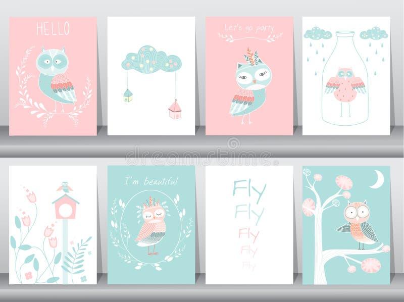 Σύνολο χαριτωμένης αφίσας ζώων, πρότυπο, κάρτες, κουκουβάγιες, boho, διανυσματικές απεικονίσεις ελεύθερη απεικόνιση δικαιώματος