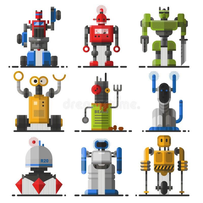 Σύνολο χαριτωμένου εκλεκτής ποιότητας διανύσματος ρομπότ ελεύθερη απεικόνιση δικαιώματος