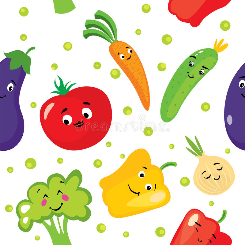 Σύνολο χαριτωμένων λαχανικών υπό μορφή χαρακτήρων Μελιτζάνα, ντομάτα, αγγούρι, κρεμμύδι, πάπρικα, πιπέρι, μπρόκολο και καρότα Bac διανυσματική απεικόνιση
