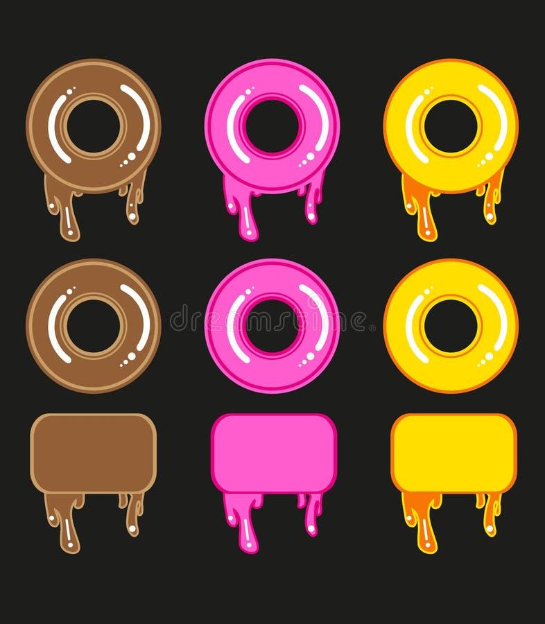 Σύνολο χαριτωμένων γλυκών ζωηρόχρωμων donuts και πλαισίων απεικόνιση αποθεμάτων