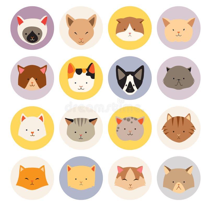 Σύνολο χαριτωμένων επίπεδων εικονιδίων γατών, διανυσματικές επίπεδες απεικονίσεις διανυσματική απεικόνιση