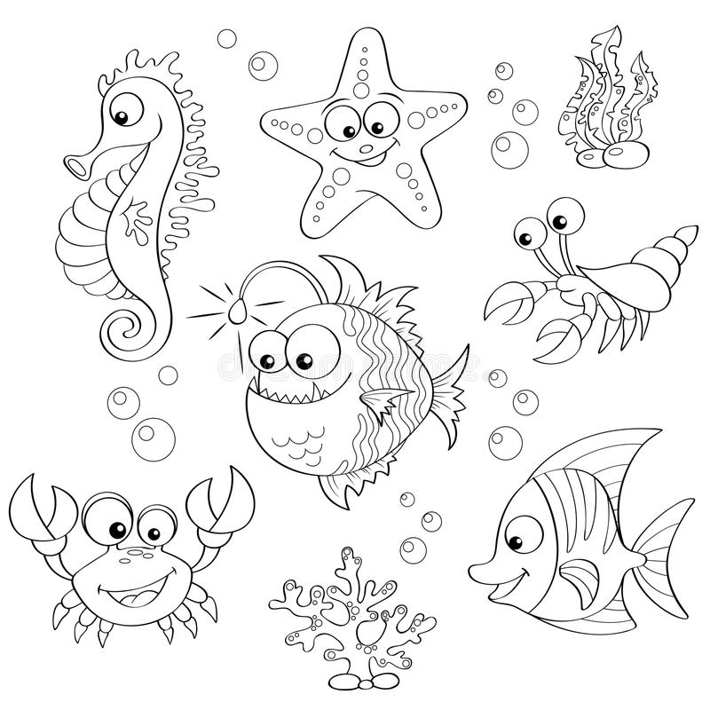 Σύνολο χαριτωμένων ζώων θάλασσας κινούμενων σχεδίων ελεύθερη απεικόνιση δικαιώματος