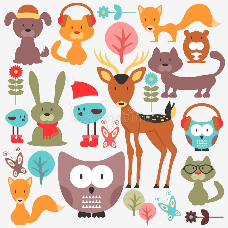 Σύνολο χαριτωμένων ζώων διανυσματική απεικόνιση