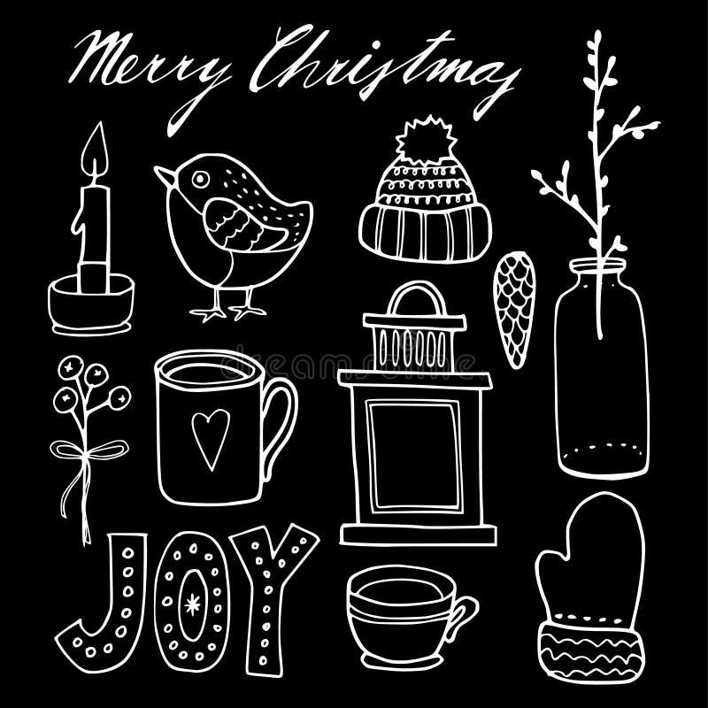 Σύνολο χαριτωμένων συρμένων χέρι γραφικών στοιχείων Χριστουγέννων κιμωλίας, απομονωμένα αντικείμενα διανυσματική απεικόνιση