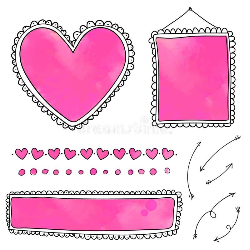 Σύνολο χαριτωμένων συρμένων χέρι πλαισίων και διαιρετών καρδιών απεικόνιση αποθεμάτων