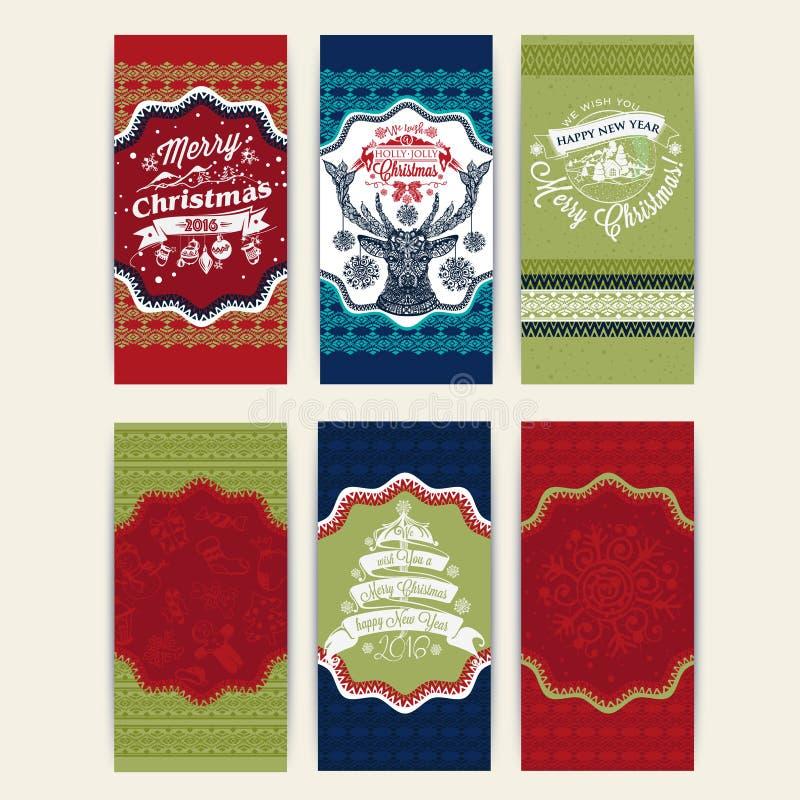 Σύνολο Χαρούμενα Χριστούγεννας έξι ευχετήριων καρτών Χριστουγέννων διανυσματική απεικόνιση