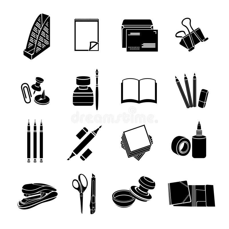Σύνολο χαρτικών διανυσματικών εικονιδίων Μαύρα επίπεδα εργαλεία γραφείων που απομονώνονται στο άσπρο υπόβαθρο ελεύθερη απεικόνιση δικαιώματος