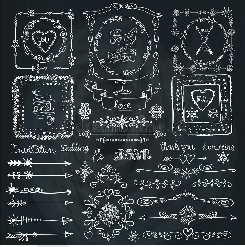 Σύνολο χειμερινών doodle ντεκόρ Πλαίσιο, σύνορα, κορδέλλα Χέρι διανυσματική απεικόνιση