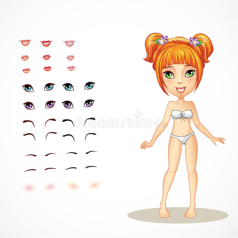 Σύνολο χειλιών, μάτια, φρύδια και eyelashes για ένα κοκκινομάλλες κορίτσι ελεύθερη απεικόνιση δικαιώματος