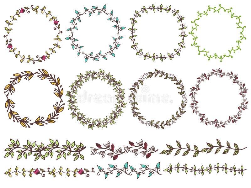 Σύνολο χεριού που σύρεται floral των στεφανιών το αγροτικό ύφος απεικόνιση αποθεμάτων