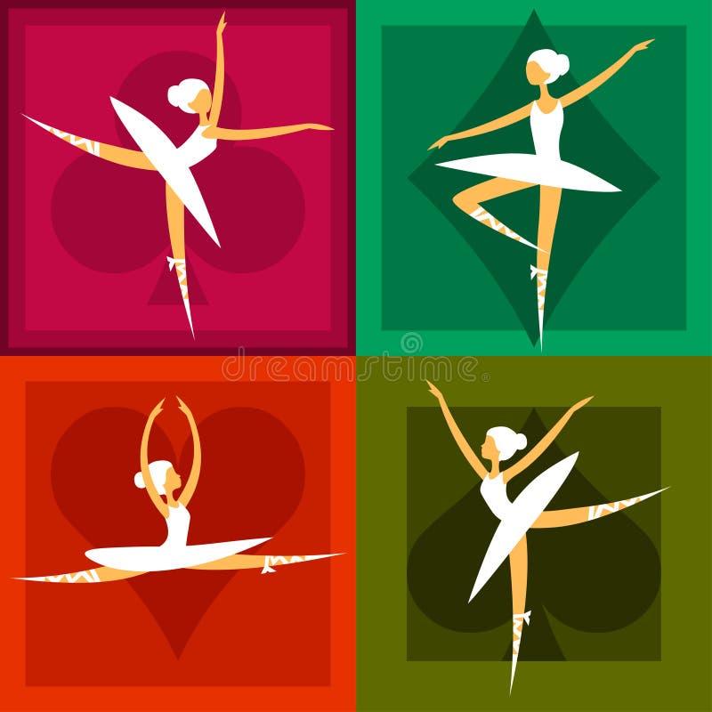 Σύνολο 4 χορευτών μπαλέτου στα ζωηρόχρωμα πλαίσια ελεύθερη απεικόνιση δικαιώματος