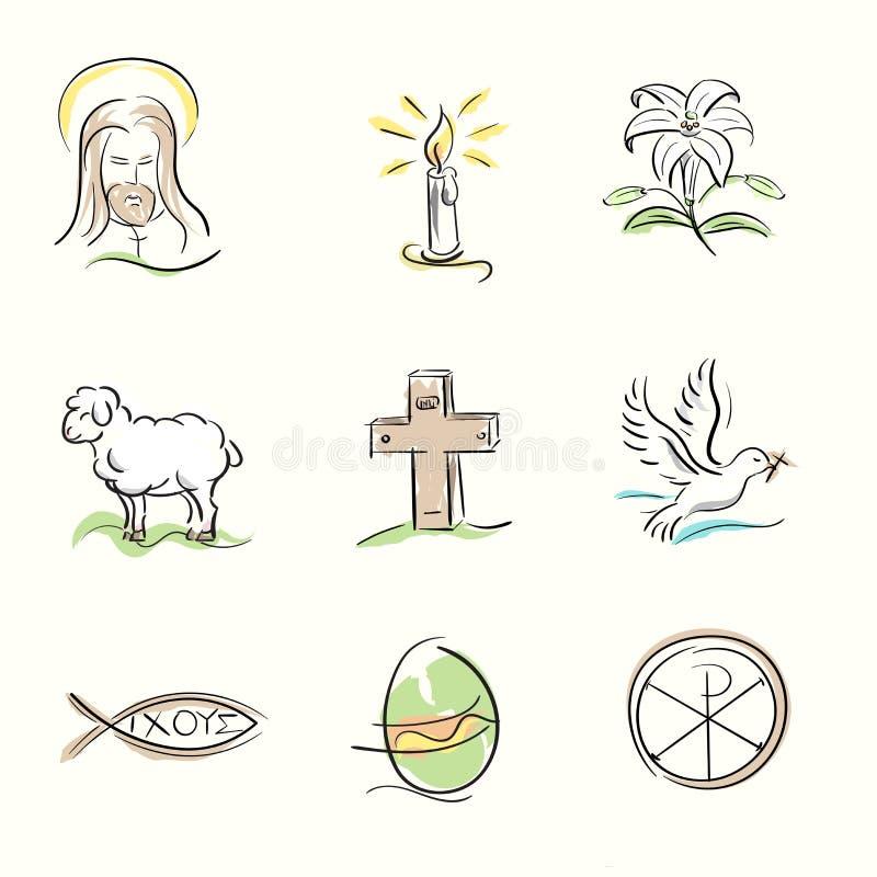 Σύνολο χριστιανικών συμβόλων Πάσχας και συρμένων χέρι απεικονίσεων άνοιξη στοκ φωτογραφία