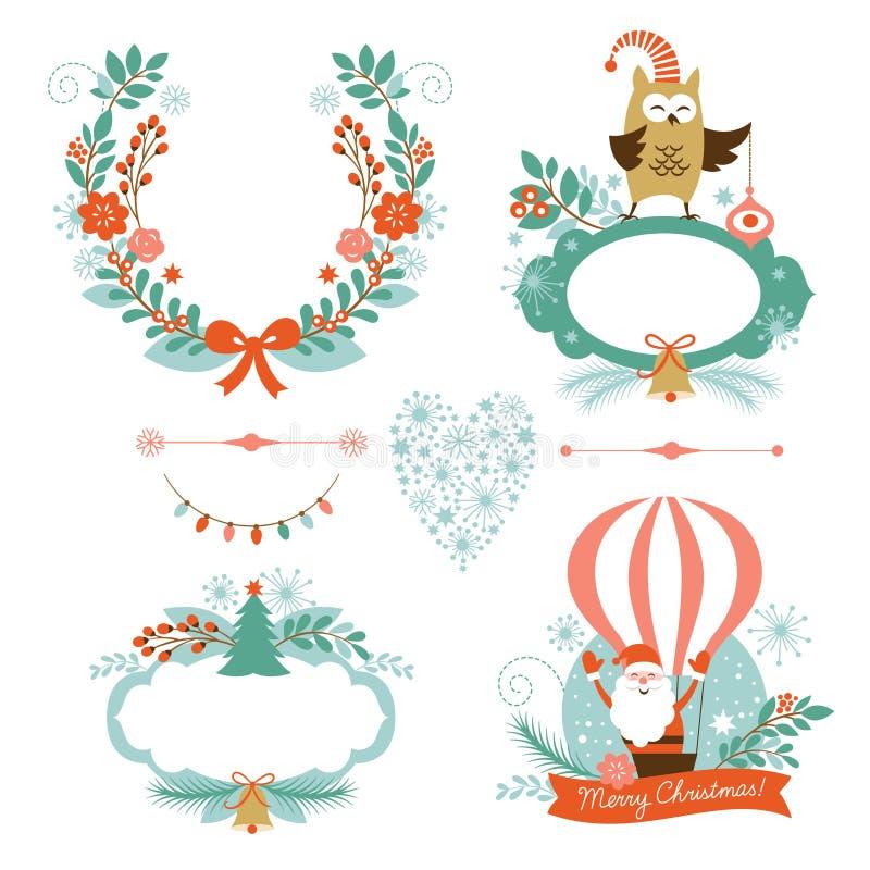 Σύνολο Χριστουγέννων και νέων γραφικών στοιχείων έτους ελεύθερη απεικόνιση δικαιώματος