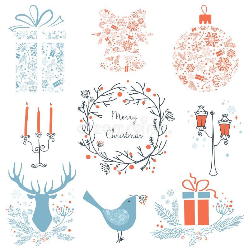 Σύνολο Χριστουγέννων και νέων εικονιδίων στοιχείων έτους γραφικών για το σχέδιό σας Εικονίδια Χριστουγέννων, σημάδια, σύμβολα Ελά ελεύθερη απεικόνιση δικαιώματος