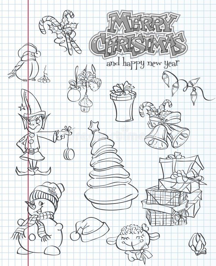 Σύνολο Χριστουγέννων και νέων εορταστικών στοιχείων και χαρακτήρων έτους Blac διανυσματική απεικόνιση